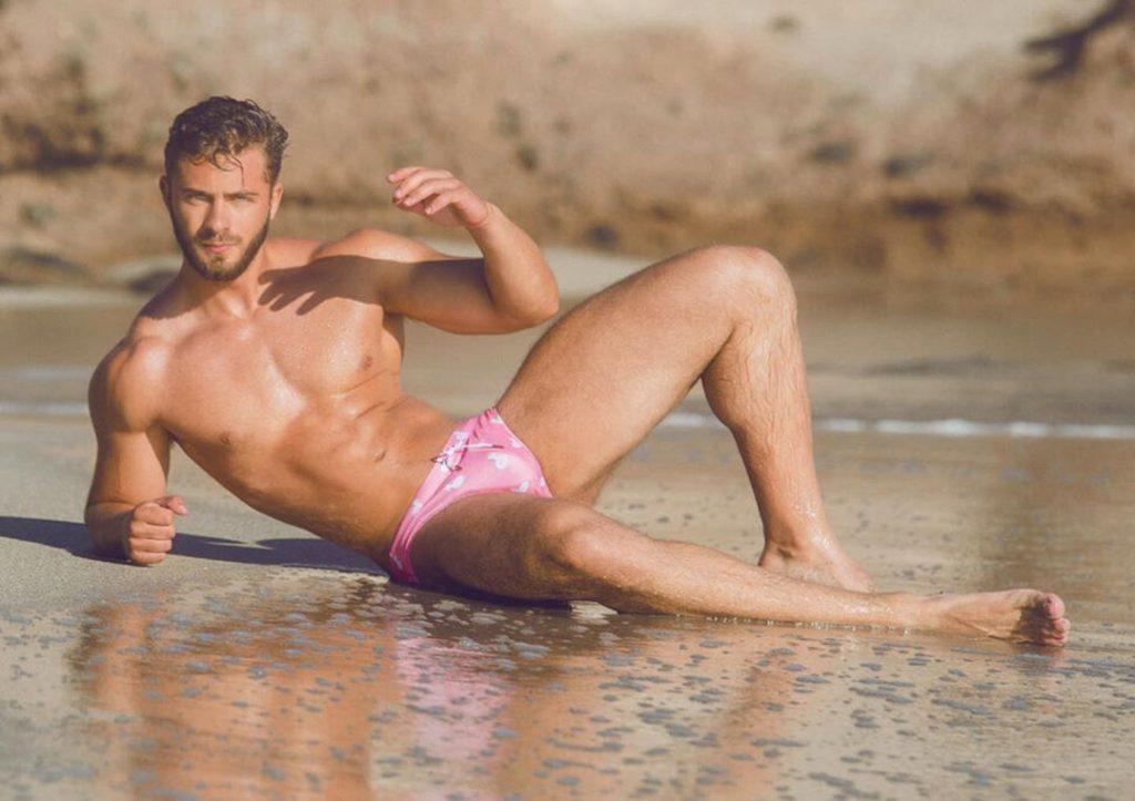 Model in Kos Enhancing Swim Briefs