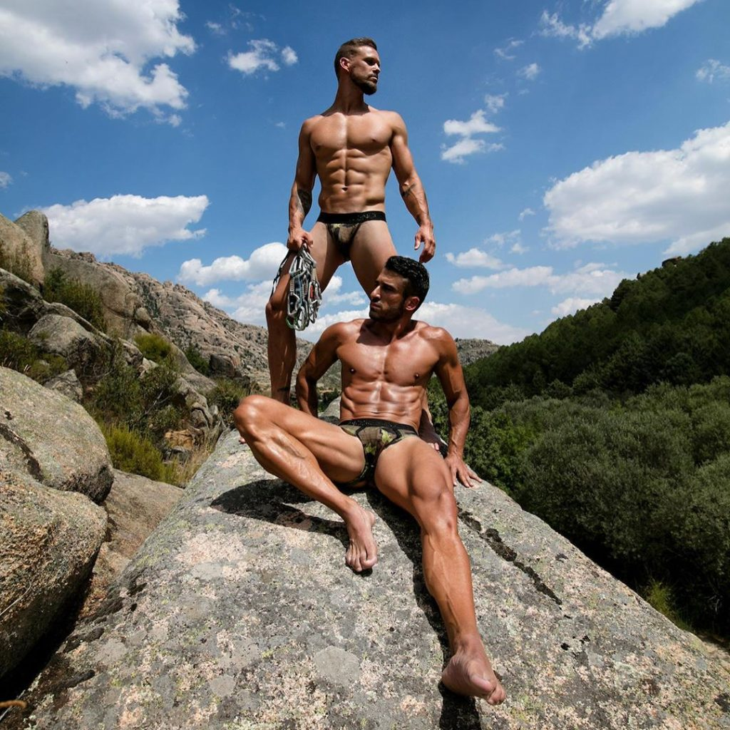 Models in Trapped camo line underwear