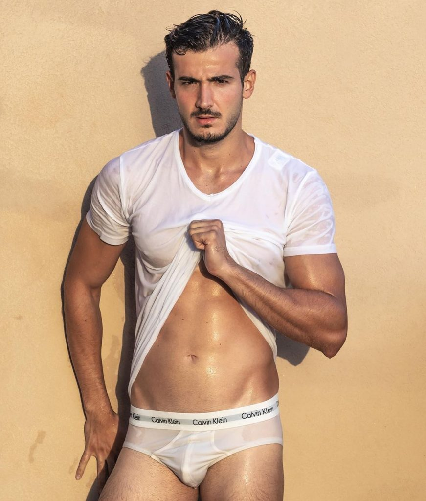 Gal Bachar posing in Calvin Klein Underwear