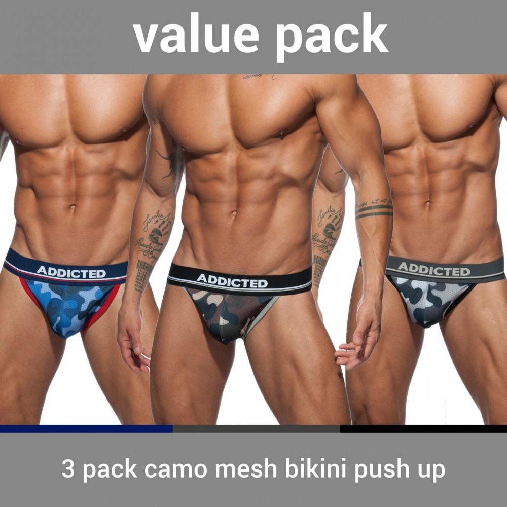 3 pack camo mesh bikini push up
