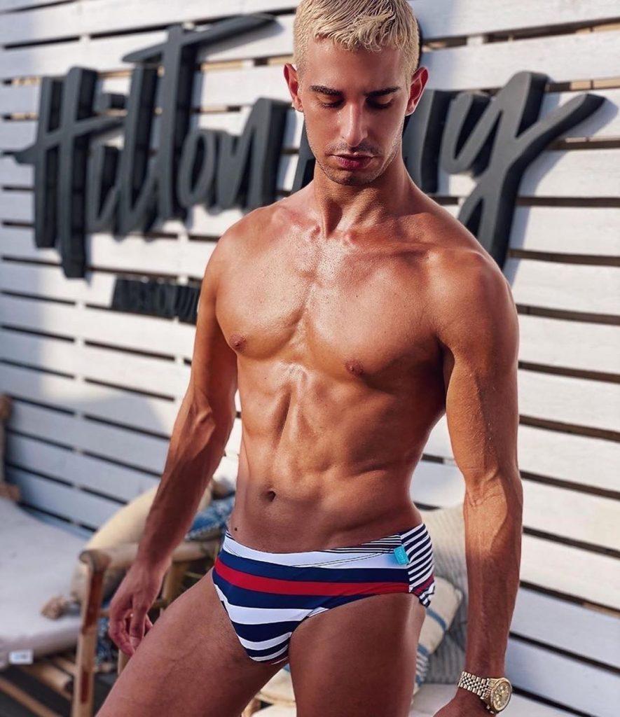 Model posing in Swim Brief Underwear for Men