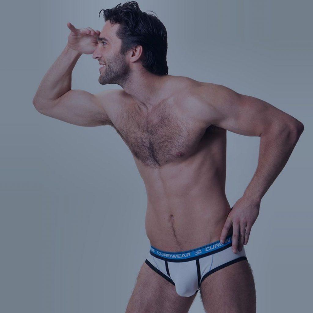 Model posing in Curbwear underwear