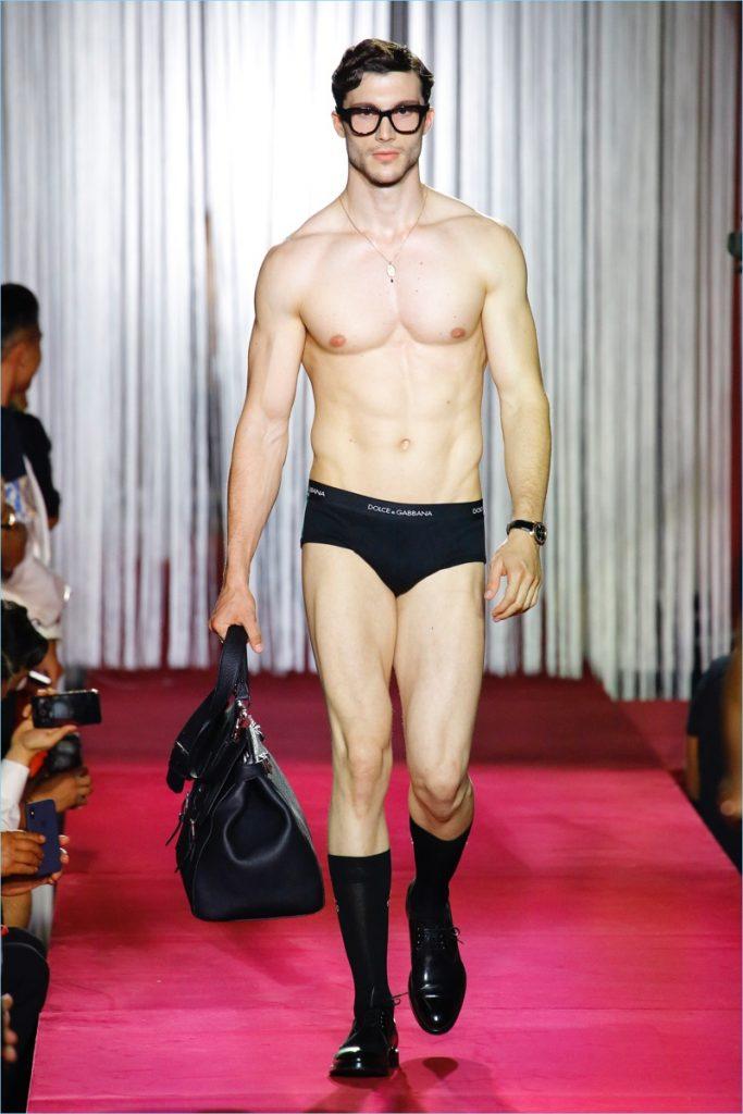 Model in Dolce and Gabbana Underwear