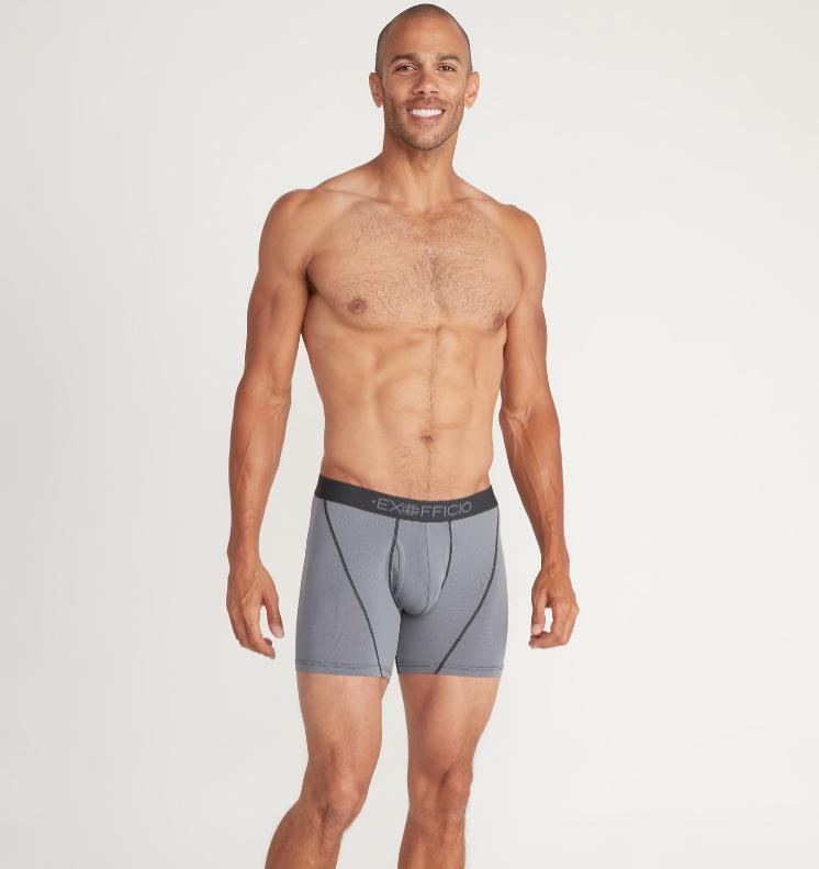 Model in Exofficio men's underwear