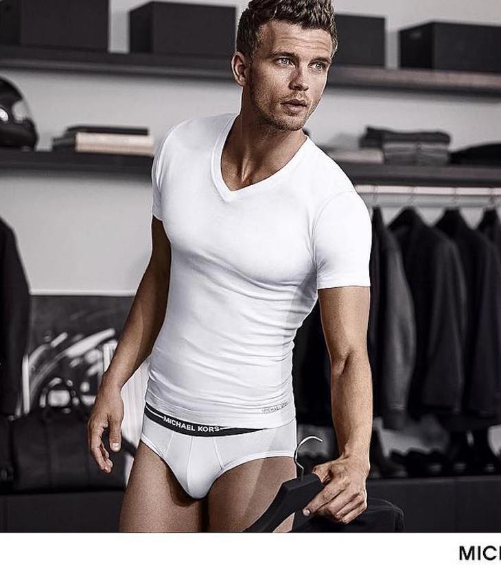 Model in Michael Kors underwear
