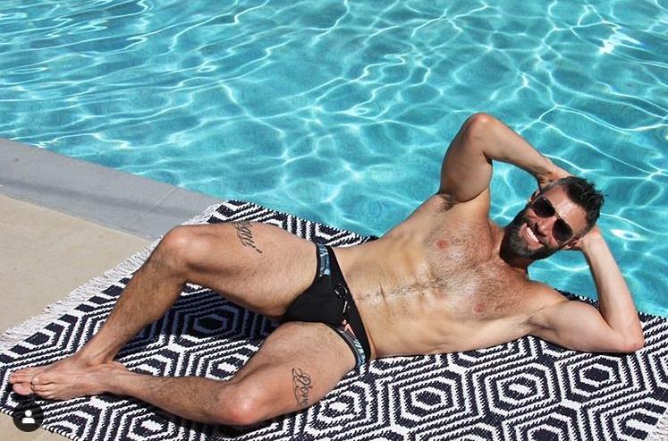 Model in Men's swim brief