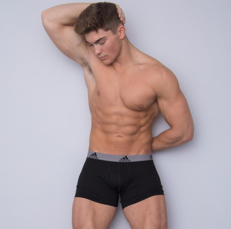 model in Adidas underwear