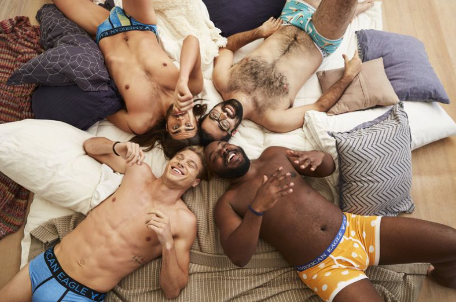 models in American Eagle underwear
